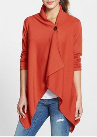 Solid Button Cross Asymmetric Cardigan Solid
