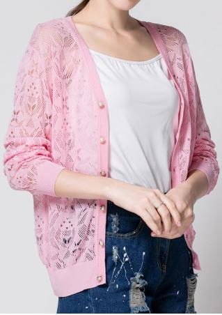 Solid Button Three Quarter Sleeve Cardigan