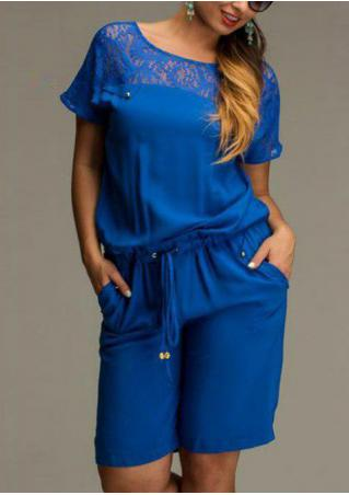 Solid Lace Splicing Plus Size Romper Solid