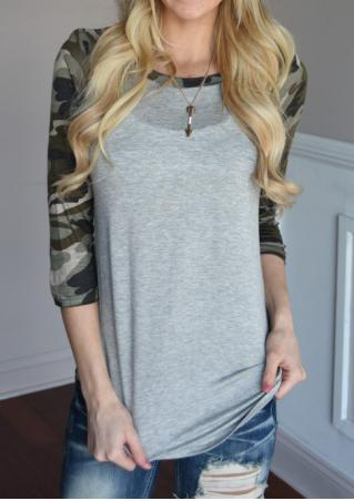 Camouflage Splicing O-Neck T-Shirt Without Necklace Camouflage