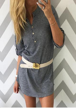 Solid Button Tab-Sleeve Casual Dress