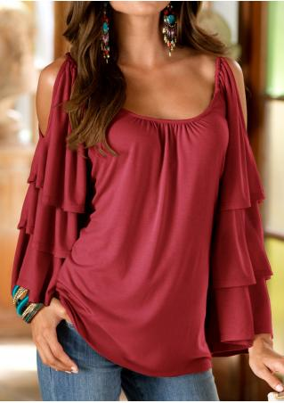 Solid Layered Sleeve Off Shoulder Blouse