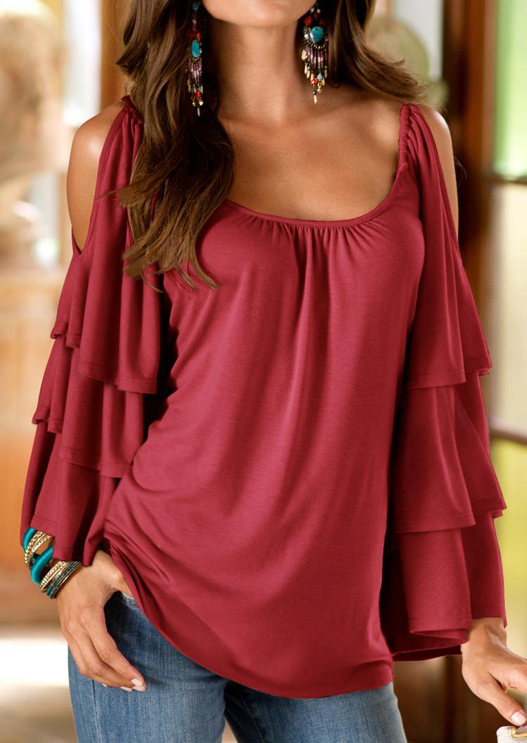 a6c21cb7916 Solid Layered Sleeve Off Shoulder Blouse - Fairyseason