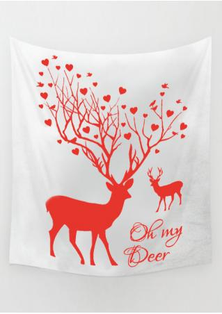 Christmas Letter Reindeer Rectangle Tapestry