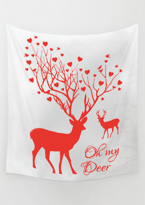 Image of Christmas Letter Reindeer Rectangle Tapestry