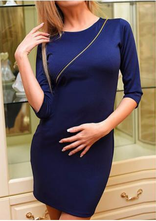 Solid Front Zipper Bodycon Dress