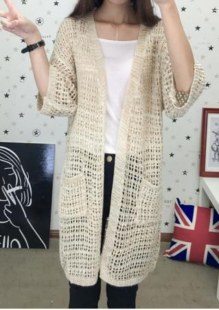 Hollow Out Pocket Loose Cardigan Without Necklace
