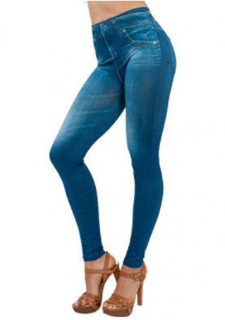Imitation Jean Pocket Plus Size Leggings Imitation
