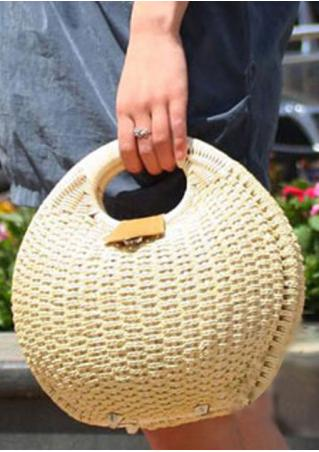 Shell Button Straw Hand Bag