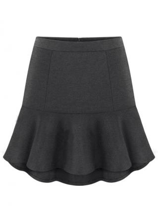 Solid Woolen Mini Skirt
