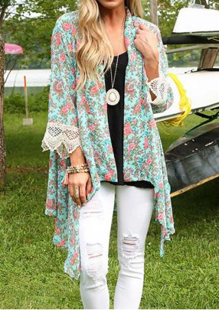 Floral Lace Splicing Asymmetric Cardigan Without Necklace