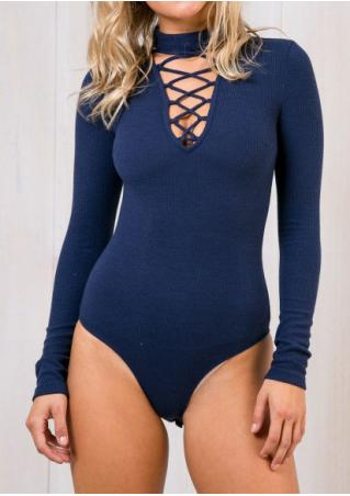 Solid Front Cross Bodysuit With Choker Plunge