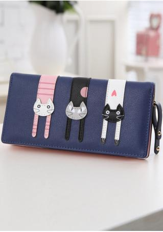 Cat Zipper PU Leather Wallet Cat