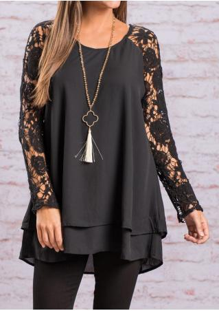 Solid Layered Lace Splicing Blouse Without Necklace