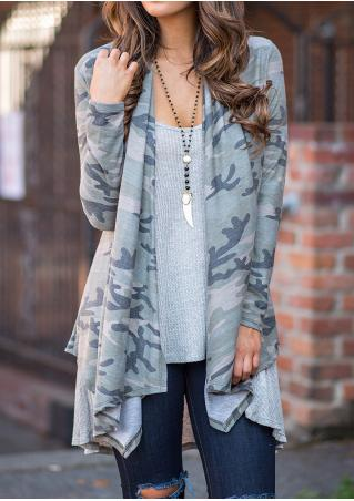 Camouflage Printed Asymmetric Cardigan Without Necklace