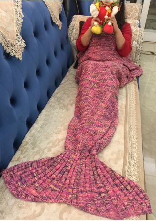 Multicolor Crochet Mermaid Tail Design Blanket