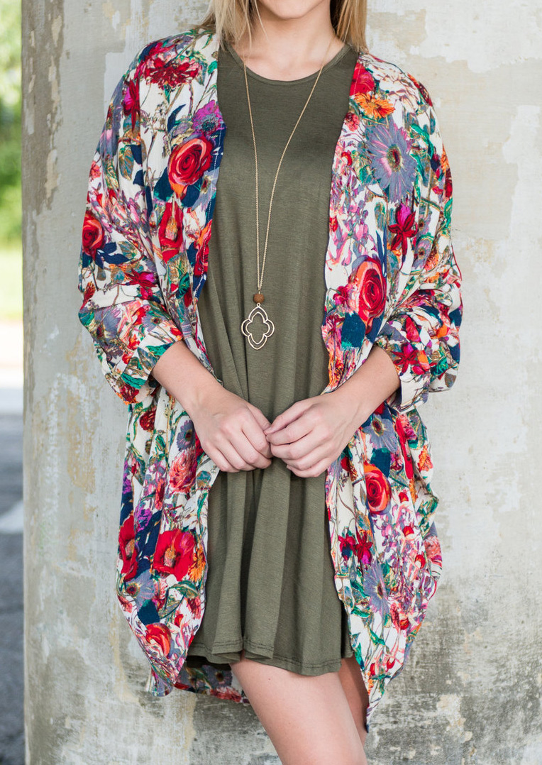 Floral Long Sleeve Cardigan Without Necklace Fairyseason