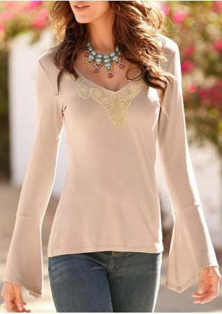 Lace Splicing Flare Sleeve Blouse Without Necklace