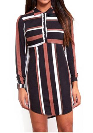 Striped Button Long Sleeve Casual Dress