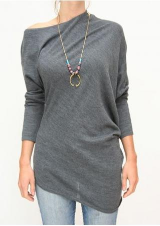Asymmetric Batwing Sleeve Blouse Without Necklace