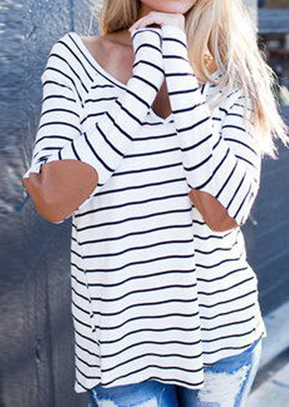 Striped Elbow Patch Casual T-Shirt