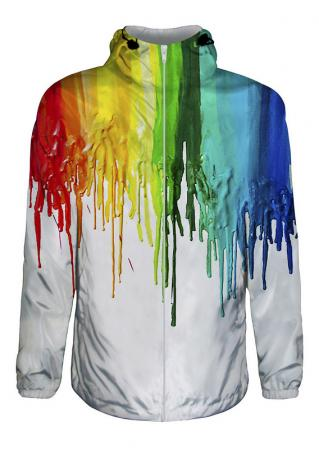 3D Colorful Splash-Ink Print Waterproof Zipper Hooded Jacket