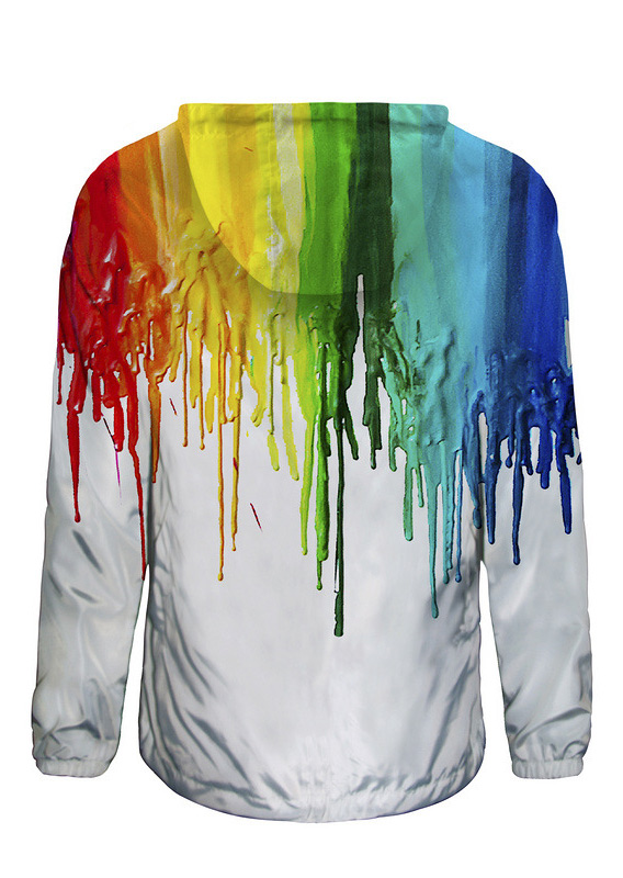 Image of 3D Colorful Splash-Ink Print Waterproof Zipper Hooded Jacket
