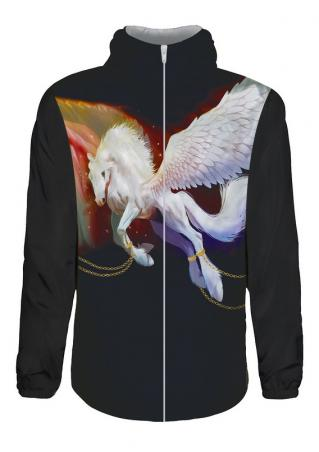 3D Pegasus Printed Waterproof Zipper Jacket