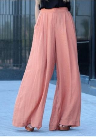 Solid Long Wide Leg Pants Fairyseason