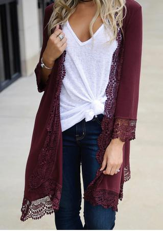 Solid Crochet Trim Long Cardigan