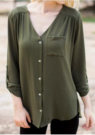 Solid Button Pocket Tab-Sleeve Blouse