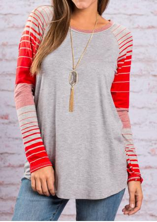 Striped Splicing T-Shirt Without Necklace
