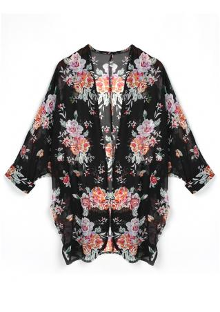 Floral See-Through Loose Cardigan