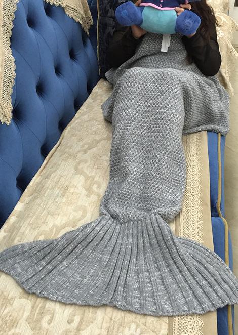 Knitting Pattern Fishtail Blanket : Knitted Warm Fishtail Blanket - Fairyseason