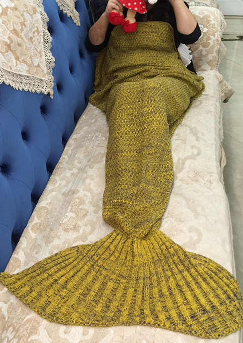 Knitting Pattern Fishtail Blanket : Knitted Warm Fishtail Blanket - Fairyseason