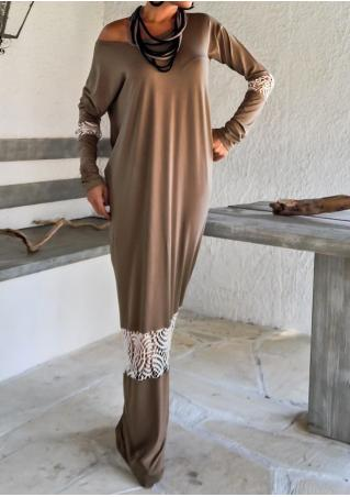 Lace Splicing Long Sleeve Maxi Dress Without Necklace