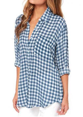 Plaid Front Pocket Long Sleeve Shirt