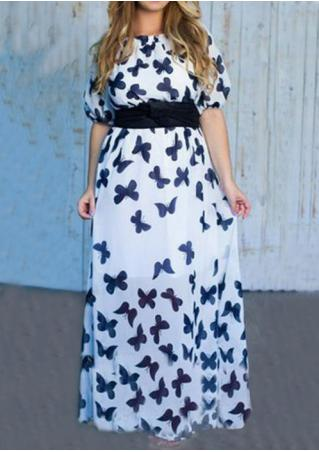 Butterfly Printed Plus Size Maxi Dress