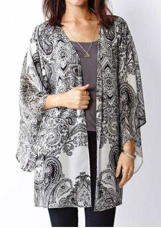 Tribal Paisley Printed Kimono Without Necklace