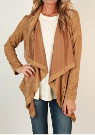 Solid Asymmetric Long Sleeve Cardigan