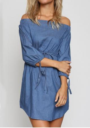 Solid Tie Slash Neck Mini Dress