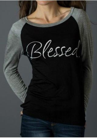 Blessed Printed Splicing O-Neck T-Shirt Blessed