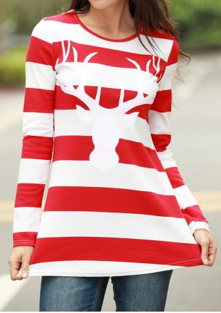 Striped Deer Pattern Casual Blouse