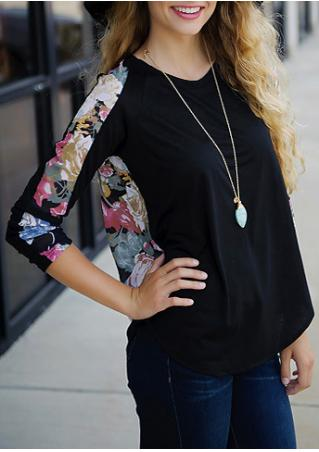 Floral Splicing O-Neck Blouse Without Necklace
