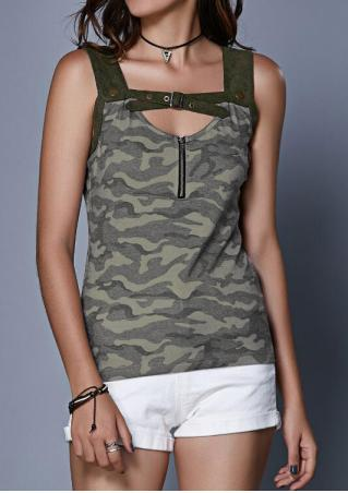 Camouflage Splicing Zipper Tank Camouflage