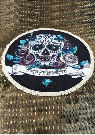 Skull Printed Tassel Round Blanket