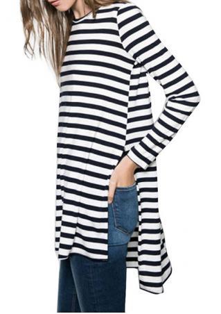 Striped Asymmetric Side Slit Blouse