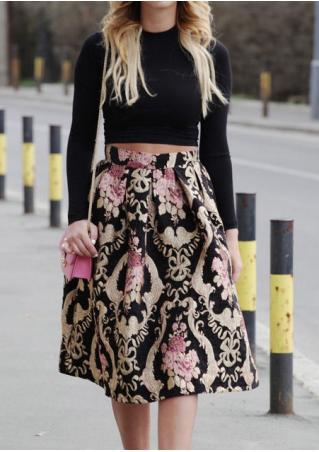 Printed Back Zipper Midi Skirt