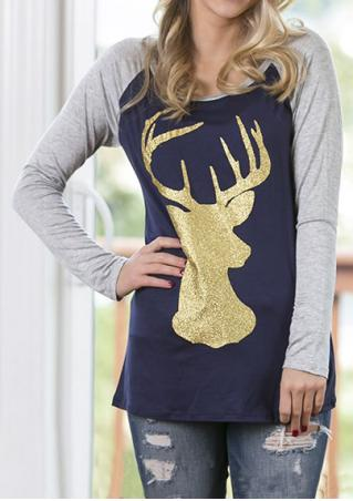 Christmas Sparkle Reindeer Printed Splicing Blouse