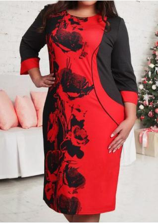 Color Block Floral Splicing Plus Size Dress Color